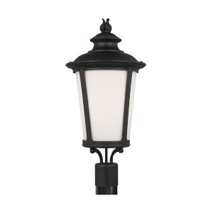 Cape May Black One-Light Outdoor Post Mount with Etched White Inside Shade