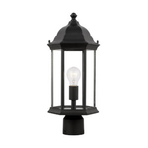 Sevier Black One-Light Outdoor Post Mount with Clear Shade