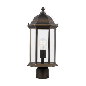 Sevier Antique Bronze One-Light Outdoor Post Mount with Clear Shade