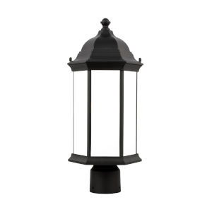 Sevier Black One-Light Outdoor Post Mount with Satin Etched Shade