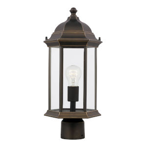 Sevier Antique Bronze One-Light Outdoor Post Mount with Satin Etched Shade Energy Star