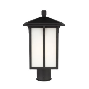 Tomek Black One-Light Outdoor Post Mount with Etched White Shade