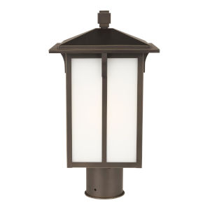 Tomek Antique Bronze One-Light Outdoor Post Mount with Etched White Shade Energy Star