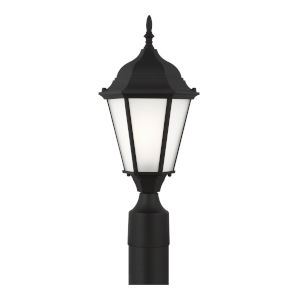 Bakersville Black One-Light Outdoor Post Mount with Satin Etched Shade Energy Star