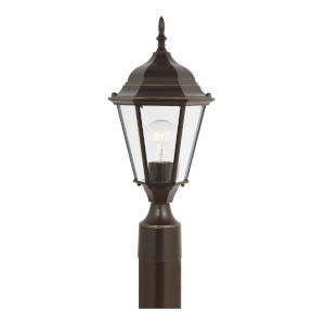 Bakersville Heirloom Bronze One-Light Outdoor Post Mount with Satin Etched Shade Energy Star