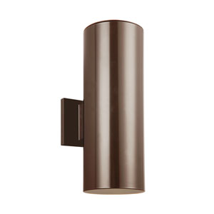 Outdoor Cylinders Bronze Energy Star 14-Inch Two-Light LED Outdoor Wall Lantern
