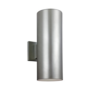 Outdoor Cylinders Painted Brushed Nickel Energy 14-Inch Star Two-Light LED Outdoor Wall Lantern