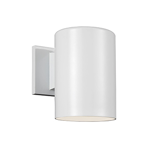 Outdoor Cylinders White Seven-Inch LED Outdoor Wall Sconce