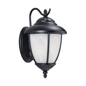 Yorktown Black Energy Star Dusk to Dawn Eight-Inch LED Outdoor Wall Lantern