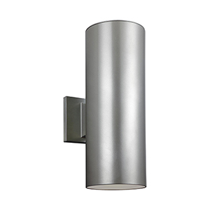Outdoor Cylinders Painted Brushed Nickel 14-Inch LED Outdoor Wall Sconce