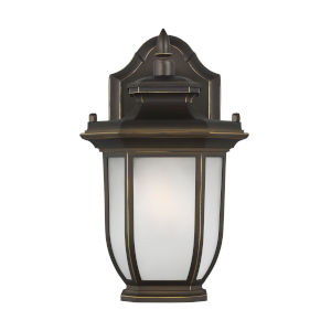 Childress Antique Bronze One-Light Outdoor Wall Sconce with Satin Etched Shade Energy Star