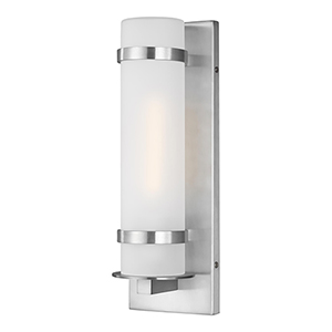 Alban Satin Aluminum Four-Inch  One-Light Energy Star Outdoor Wall Lantern