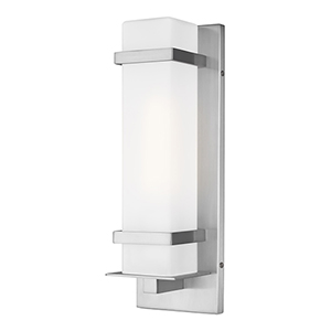 Alban Satin Aluminum One-Light Outdoor Wall Lantern