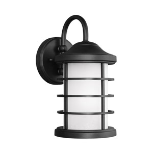 Sauganash Black Energy Star 12-Inch LED Outdoor Wall Lantern with Etched Seeded Glass