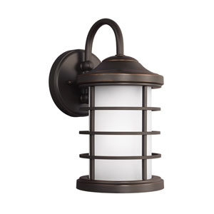 Sauganash Antique Bronze Energy Star 12-Inch LED Outdoor Wall Lantern with Etched Seeded Glass