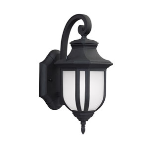 Childress Black Energy Star 13-Inch LED Outdoor Wall Lantern with Satin Etched Glass