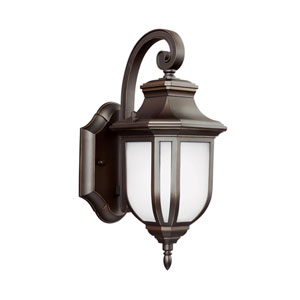 Childress Antique Bronze Energy Star 13-Inch LED Outdoor Wall Lantern with Satin Etched Glass