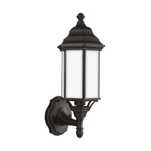 Sevier Antique Bronze Seven-Inch One-Light Outdoor Uplight Wall Sconce with Satin Etched Shade