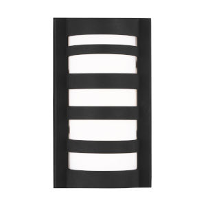 Rebay Black Five-Inch LED Outdoor Wall Sconce with Etched White Inside Shade
