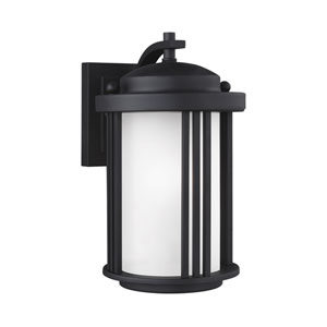 Crowell Black Energy Star 10-Inch LED Outdoor Wall Lantern with Satin Etched Glass