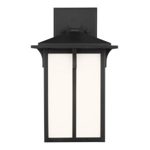 Tomek Black One-Light Outdoor Small Wall Sconce with Etched White Shade