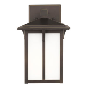 Tomek Antique Bronze One-Light Outdoor Small Wall Sconce with Etched White Shade