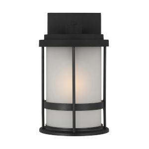 Wilburn Black Six-Inch One-Light Outdoor Wall Sconce with Satin Etched Shade