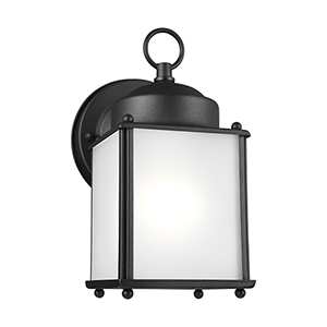 New Castle Black Energy Star Four-Inch One-Light Outdoor Wall Sconce