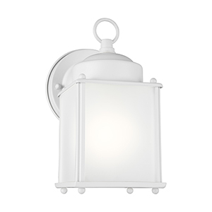 New Castle White Energy Star Four-Inch One-Light Outdoor Wall Sconce