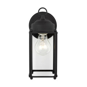 New Castle Black One-Light Outdoor Wall Sconce with Clear Shade