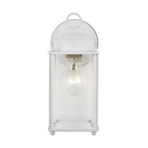 New Castle White One-Light Outdoor Wall Sconce with Clear Shade