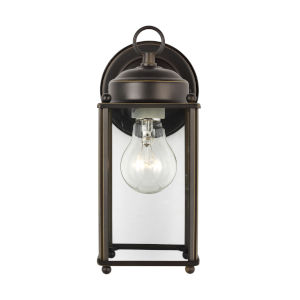 New Castle Antique Bronze One-Light Outdoor Wall Sconce with Clear Shade