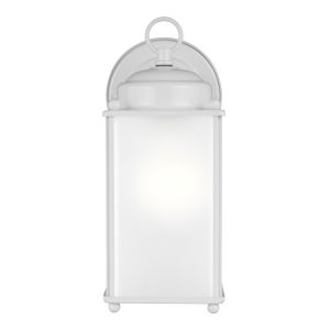 New Castle White One-Light Outdoor Wall Sconce with Satin Etched Shade Energy Star