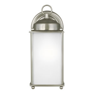 New Castle Antique Brushed Nickel One-Light Outdoor Wall Sconce with Satin Etched Shade Energy Star