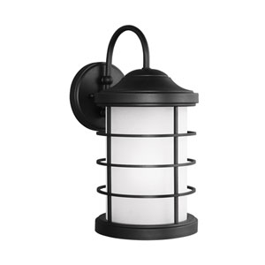 Sauganash Black Energy Star LED Outdoor Wall Lantern with Etched Seeded Glass