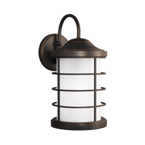 Sauganash Antique Bronze Energy Star LED Outdoor Wall Lantern with Etched Seeded Glass