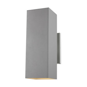Pohl Painted Brushed Nickel Two-Light Outdoor Wall Sconce with Tempered Glass Shade Energy Star