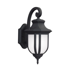 Childress Black Energy Star 14-Inch LED Outdoor Wall Lantern with Satin Etched Glass