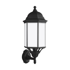 Sevier Black One-Light Outdoor Uplight Large Wall Sconce with Satin Etched Shade