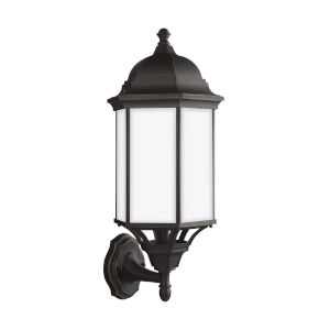 Sevier Antique Bronze Nine-Inch One-Light Outdoor Uplight Wall Sconce with Satin Etched Shade