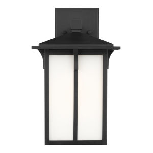 Tomek Black One-Light Outdoor Wall Sconce with Etched White Shade