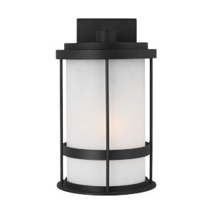 Wilburn Black Eight-Inch One-Light Outdoor Wall Sconce with Satin Etched Shade