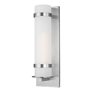 Alban Satin Aluminum Eight-Inch Eight-Inch One-Light Energy Star Outdoor Wall Lantern