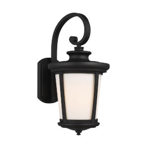 Eddington Black One-Light Outdoor Large Wall Sconce with Cased Opal Etched Shade