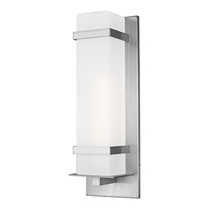 Alban Satin Aluminum One-Light Energy Star Outdoor Wall Lantern