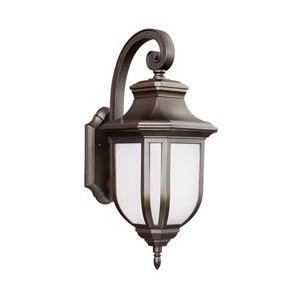 Childress Antique Bronze Energy Star LED Outdoor Wall Lantern with Satin Etched Glass