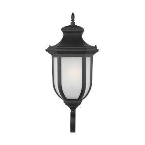 Childress Black Large One-Light Outdoor Wall Sconce with Satin Etched Shade