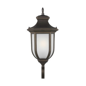 Childress Antique Bronze Nine-Inch One-Light Outdoor Wall Sconce with Satin Etched Shade