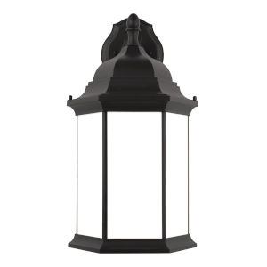 Sevier Black 13-Inch One-Light Outdoor Downlight Wall Sconce with Satin Etched Shade Energy Star