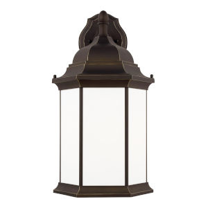 Sevier Antique Bronze 13-Inch One-Light Outdoor Downlight Wall Sconce with Satin Etched Shade Energy Star